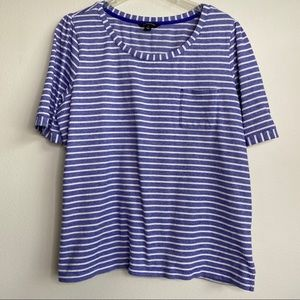 Land's End blue/white striped textured tee